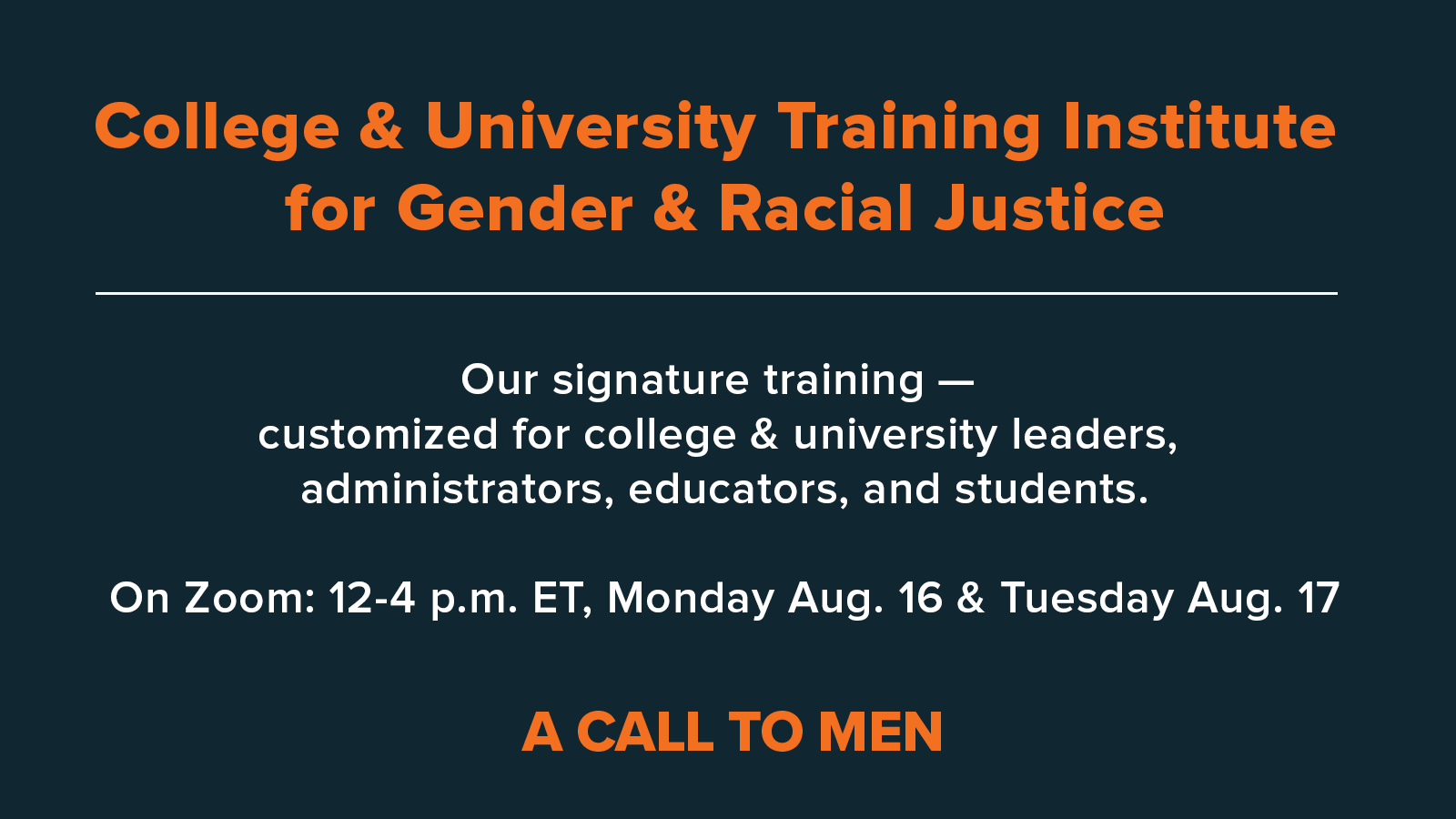 College & University Training Institute For Gender and Racial Justice